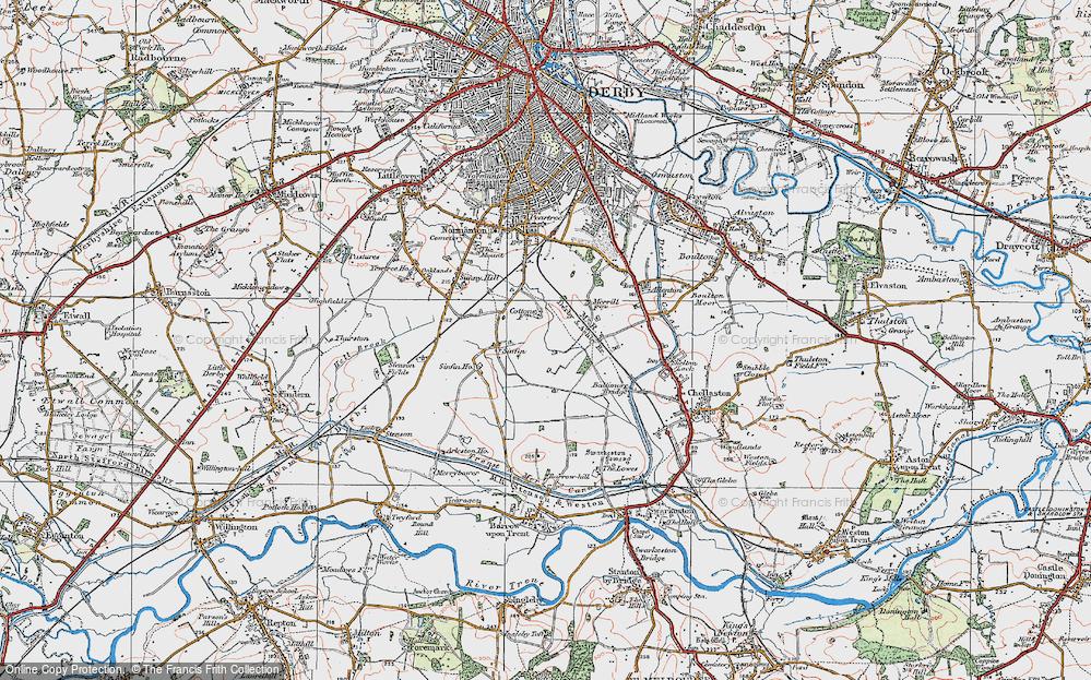 Old Map of Sinfin Moor, 1921 in 1921