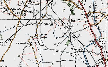 Old map of Sinfin Moor in 1921
