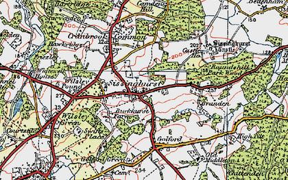Old map of Sissinghurst in 1921