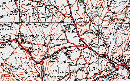 Old map of Sithney in 1919