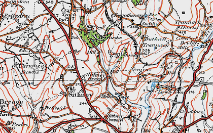 Old map of Sithney Green in 1919