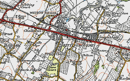 Old map of Sittingbourne in 1921