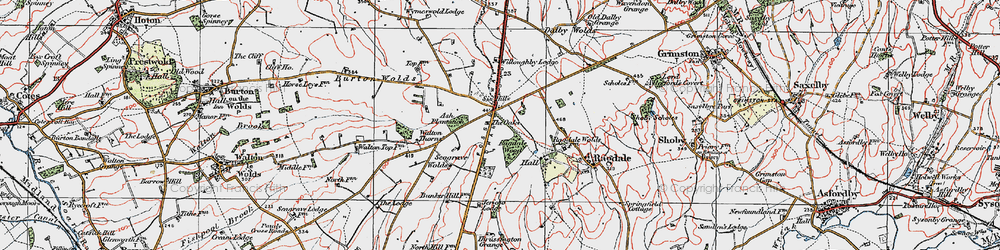 Old map of Willoughby Lodge in 1921
