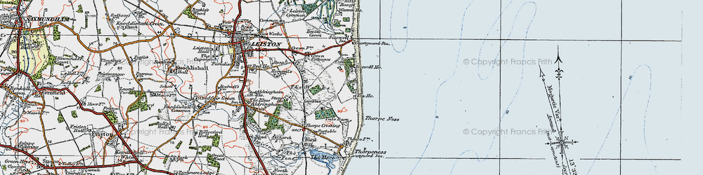 Old map of Sizewell in 1921