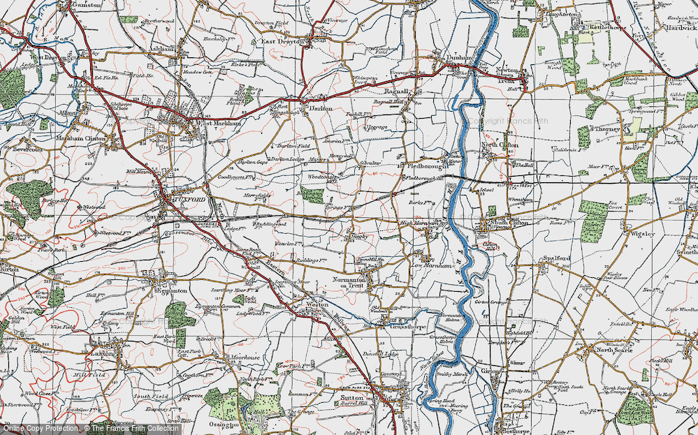 Old Map of Historic Map covering Woodcoates in 1923