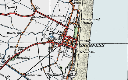 Old map of Skegness in 1923