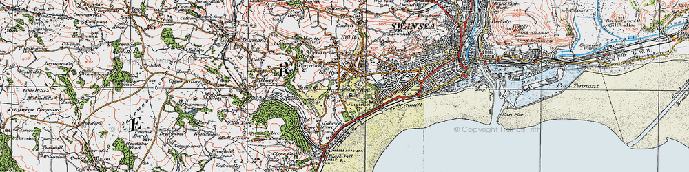 Old map of Sketty in 1923