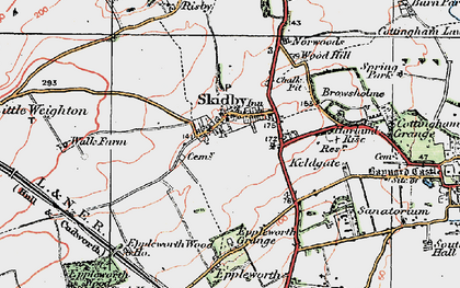Old map of Skidby in 1924