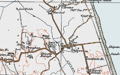 Old map of Skipsea in 1924