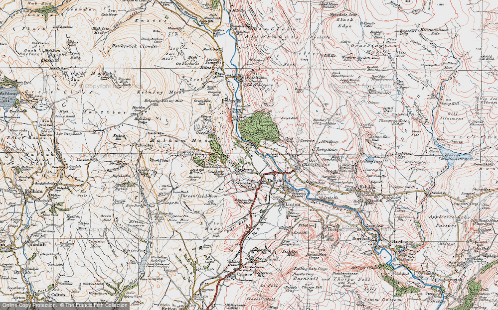 Old Map of Historic Map covering Wood Nook in 1925