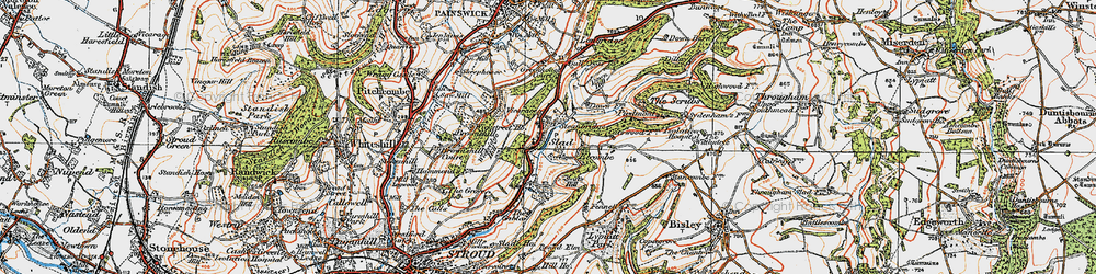 Old map of Slad in 1919