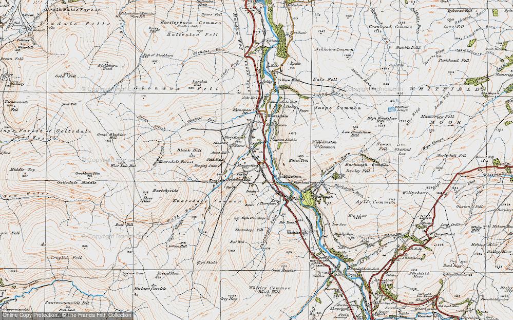 Old Map of Historic Map covering Barhaugh Burn in 1925