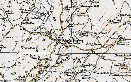 Old map of Slaidburn in 1924