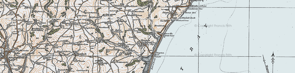 Old map of Slapton in 1919