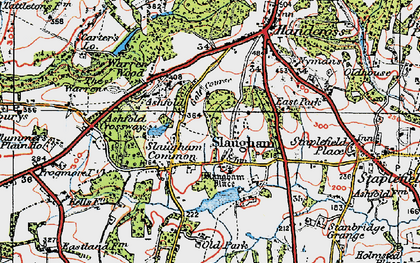 Old map of Slaugham in 1920