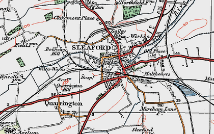 Old map of Sleaford in 1922