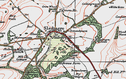 Old map of Sledmere in 1924