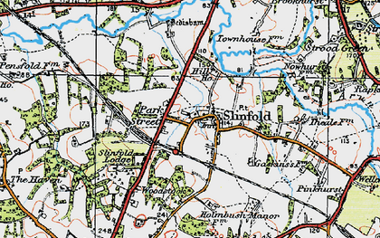 Old map of Slinfold in 1920