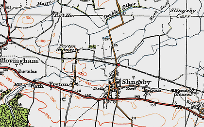 Old map of Slingsby in 1925