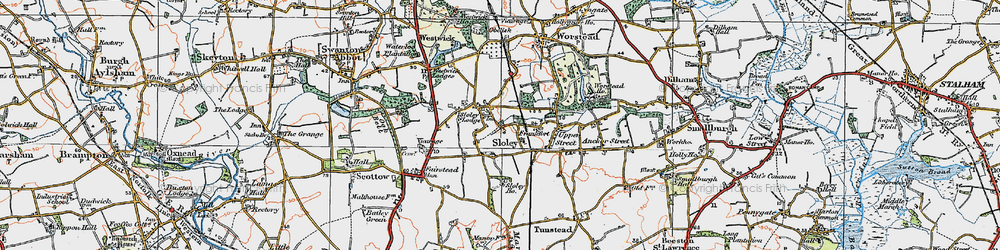 Old map of Worstead Sta in 1922