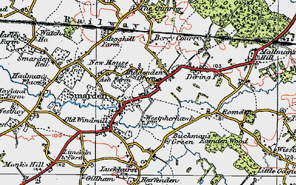 Old map of Smarden in 1921