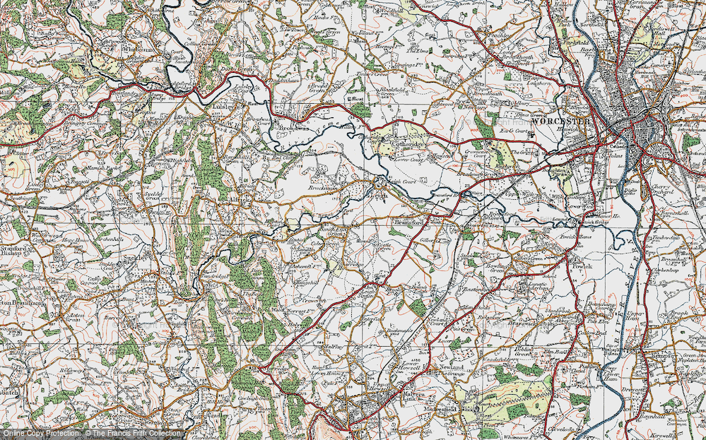 Old Map of Historic Map covering Leigh Brook in 1920