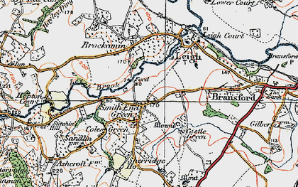 Old map of Leigh Brook in 1920