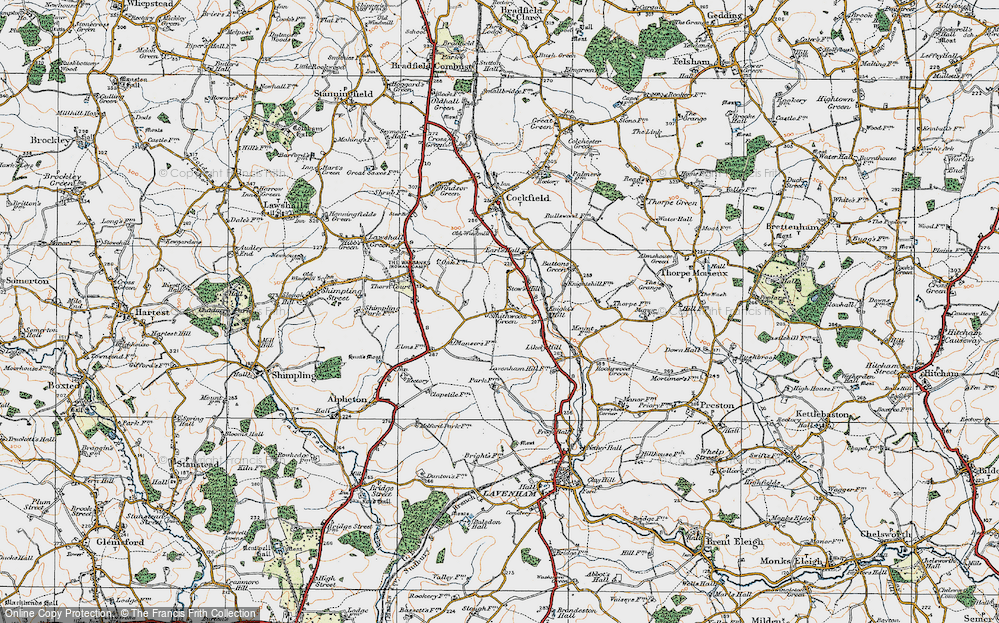 Old Map of Historic Map covering Lavenham Lodge in 1921