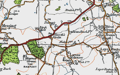Old map of Layer Wood in 1921