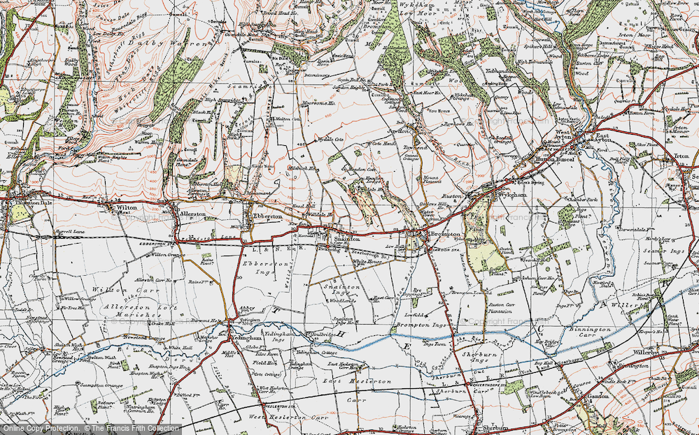 Old Map of Historic Map covering Wydale Hall in 1925