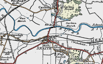 Old map of Snaith in 1924