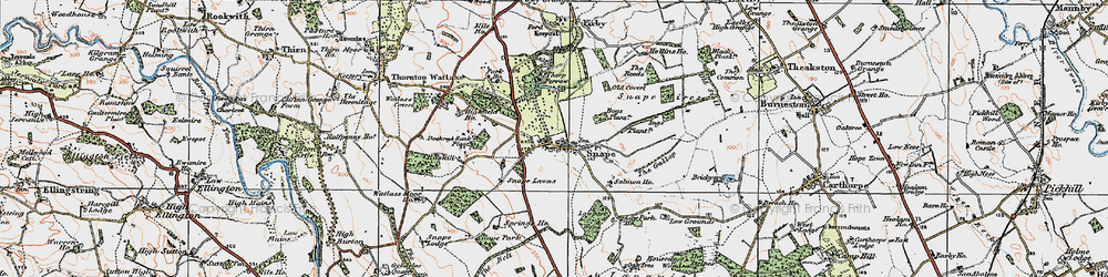 Old map of Snape in 1925