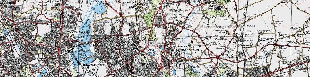 Old map of Snaresbrook in 1920