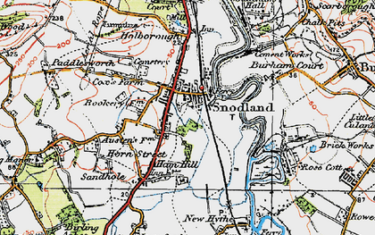 Old map of Snodland in 1920