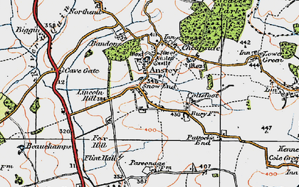 Old map of Snow End in 1919