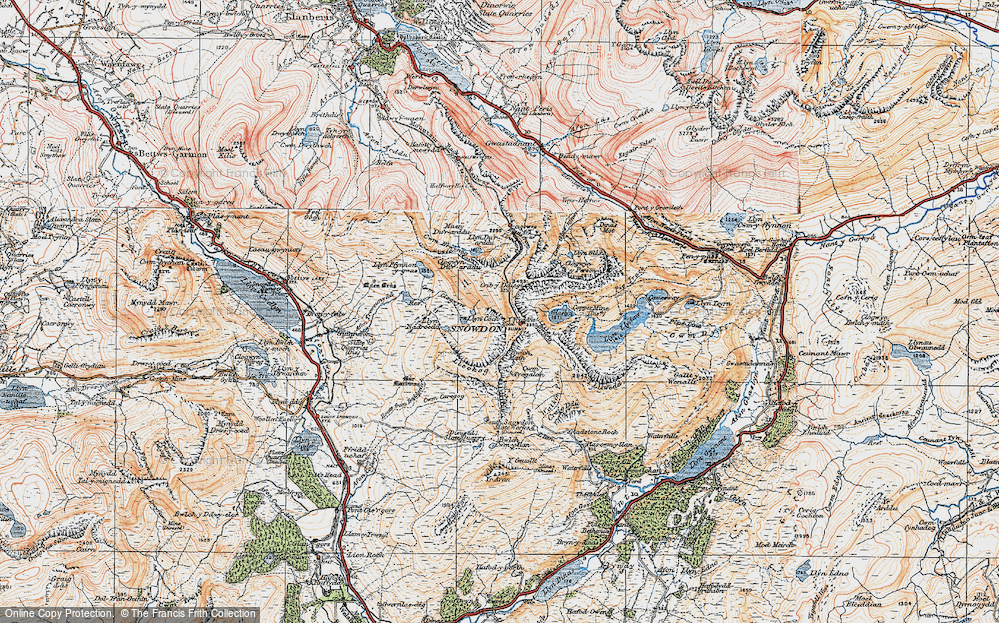 Old Map of Historic Map covering Allt Maenderyn in 1922