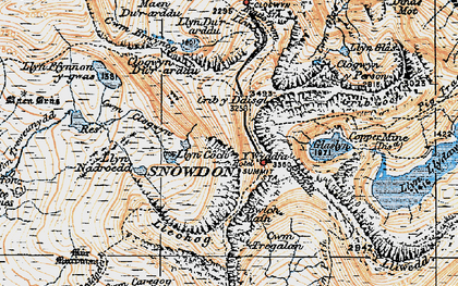 Old map of Snowdon in 1922