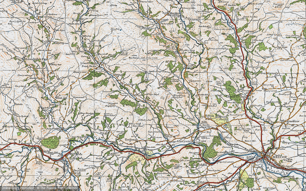 Old Map of Historic Map covering Afon Ysgir in 1923
