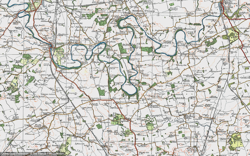 Old Map of Historic Map covering Wood Head in 1925