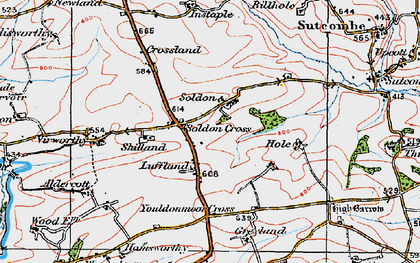 Old map of Aldercott in 1919