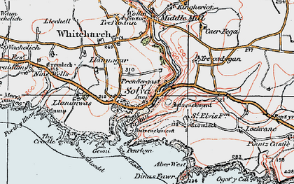 Old map of Aber-west in 1922