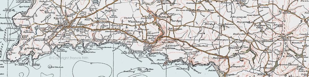Old map of Solva in 1922