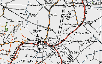 Old map of Somersham in 1920