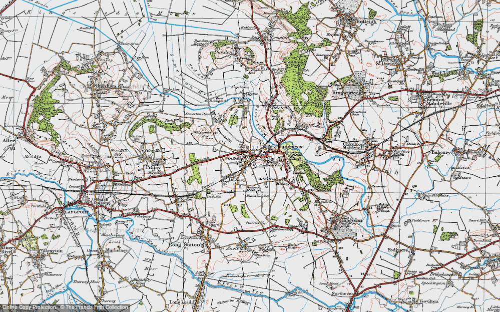 Old Map of Historic Map covering Badger's Cross in 1919