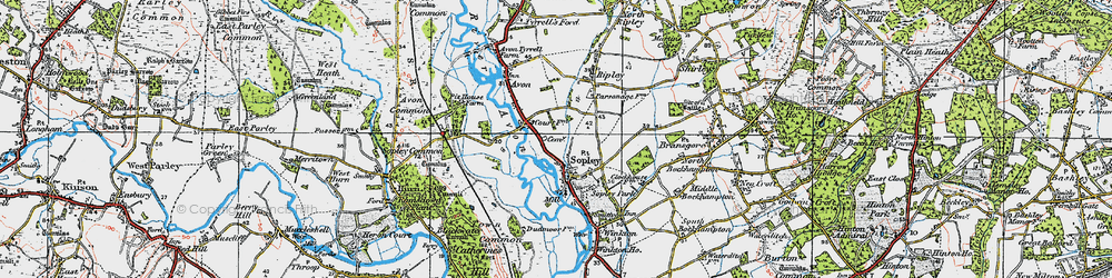 Old map of Sopley in 1919