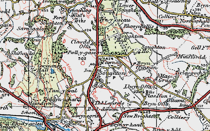 Old map of Soughton in 1924