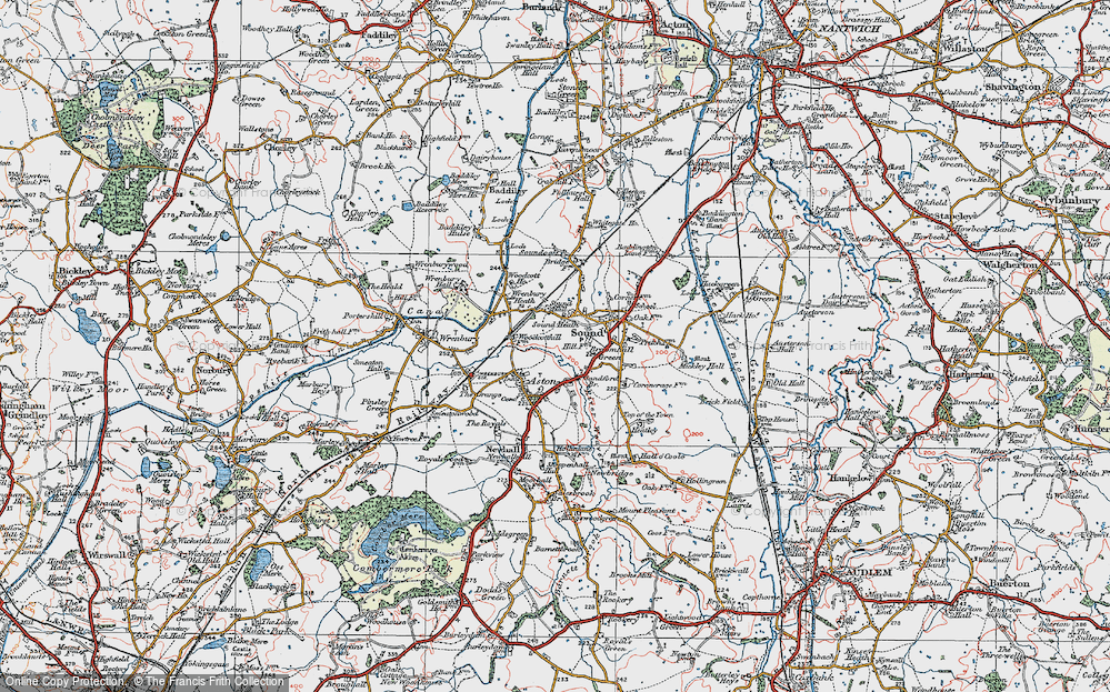 Old Map of Historic Map covering Woodcott Ho in 1921