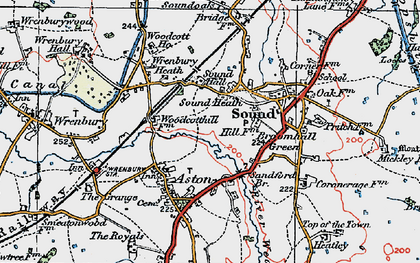 Old map of Wrenbury Sta in 1921