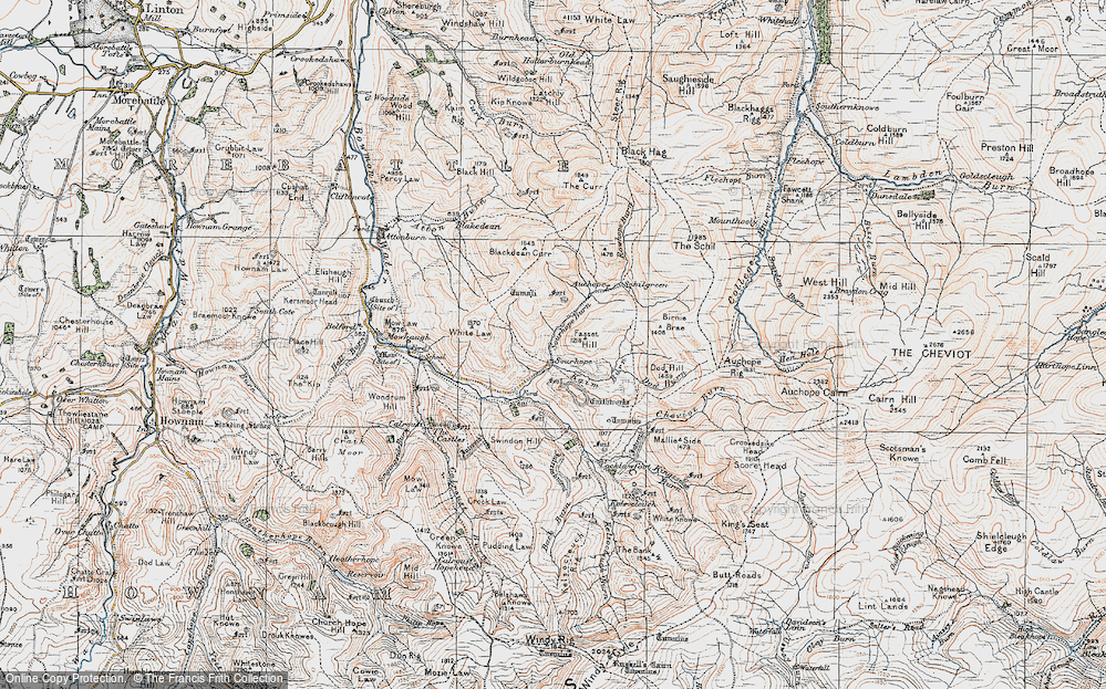 Old Map of Historic Map covering Auchope Rig in 1926