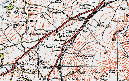 Old map of Sourton in 1919